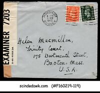 GREAT BRITAIN - 1942 ENVELOPE TO TRINITY COURT USA WITH KGVI STAMPS CENSORD