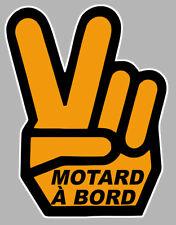 MOTARD A BORD MAIN VICTORY HAND 12x9cm AUTOCOLLANT/STICKER - MOTO (MA162)