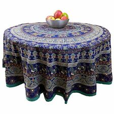 "Handmade Cotton Elephant Mandala Floral 81"" Round Tablecloth Blue Teal Golden"
