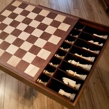 """Extra Large 22"""" Maple and Walnut Chess Set w/ Hidden Storage Compartment"""
