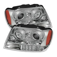 Fit Jeep 99-04 Grand Cherokee Dual Halo LED Projector Headlights Laredo Limited