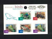 MAD29) Australia 2002 Desert Birds Sheetlet Opt Beijing 2002 MUH