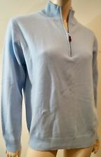 MONACO CASHMERE Baby Blue Zip Neckline Long Sleeve Sweater Jumper Top M