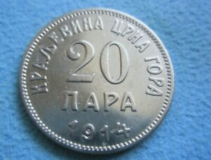 MONTENEGRO Yugoslavia 20 para 1914 good XF