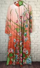 Vintage Floral Long Sleeve House Dress Foley Size M Pink Green Boho