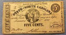 1863 5c Five Cent North Carolina Note Confederate Higher Grade