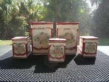 AUTHENTIC ANTIQUE CANISTERS WITH SPICE JARS FLOWER DESIGN 10 PIECES