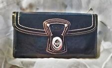 Coach Wallet Trifold Twist Lock Navy Blue Patent Leather
