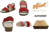 Softinos Ladies Red Leather Slingback Sandals ALP425SOF