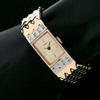 Vintage Retro 14k Rose & Green Gold .32ct Diamond Kelbert Mechanical Wrist Watch