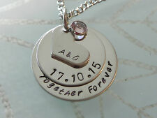 Personalised Hand Stamped Anniversary Gift Birthday Gift  Pendant