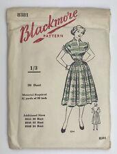 "Vintage Sewing Pattern Full Skirted Dress Bust 36""  Blackmore 8381 Sealed Unused"