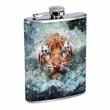 Fierce Tiger Em1 Flask 8oz Stainless Steel Hip Drinking Whiskey