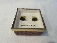 Vintage Pierre Cardin Set of Oval Cuff Links - Black Onyx with Gold Tone Wrap