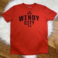 "Under Armour Boys YOUTH Medium Red & Black Short Sleeve T-Shirt ""The Windy City"""
