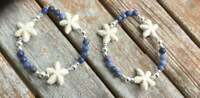 Sodalite and Stone Starfish Charm Beaded Seaside Bracelet, Blue/Natural White