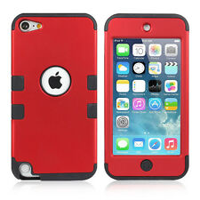 iPod Touch iTouch 5th/6th Gen RED High Impact Armor Hard&Soft Rubber Hybrid Case