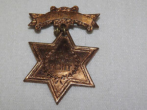 VINTAGE JESUS  CHRISTIAN  SEARCH THE SCRIPTURES AWARD OF MERIT COPPER BADGE PIN