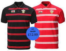 NEW MEN'S WALES CYMRU RUGBY FOOTY  STRIPED PIQUE CONTRAST POLO T SHIRT