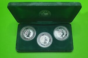 Set 3 Silver Kookaburra 1oz Proof Coins 1999-2000-2001-Perth Mint Silver Bullion