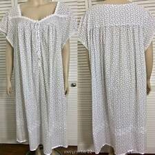 NWT $72 EILEEN WEST NIGHTGOWN 3X NAVY FLORAL/WHITE LACE CAP SLVS BALLET COTTON