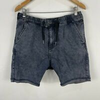Industrie Mens Shorts 36 Blue Denim Elastic Waist Drawstring Pockets Chino