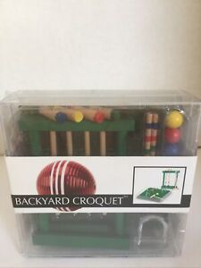 4 Player Vintage Croquet Set Wooden Mallet Outdoor Sports Backyard Lawn Games