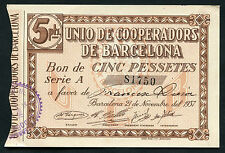 GUERRA CIVIL, BILLETE, UNIO DE COOPERADORS DE BARCELONA, VALOR: 5 PESETAS, 1937