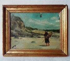 Ancien tableau Huile sur toile Bord de Mer Marine Pêcheuse Paysage du XIXe