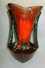 Vallauris Fat Lava Pottery 2 Handled Vase