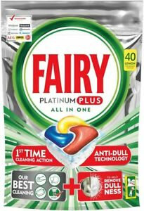 Fairy Platinum Plus Dishwasher Tablets, Lemon Scent has dual action technology