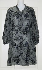 Womens size 16 long green & black sheer tunic style blouse made by KATIES