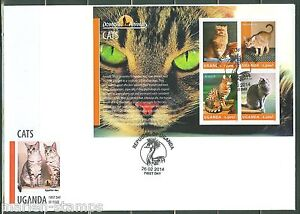 UGANDA 2014 DOMESTIC ANIMALS CATS  SHEET  FIRST DAY COVER
