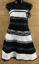 Roberta Women's Dress 7/8 Black White Fit Flare Off the Shoulder Prom Party