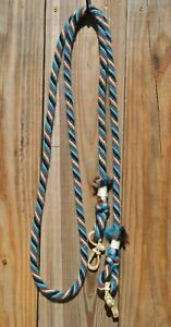 "Jose Ortiz 1/2"" Mohair Roping / Loop Reins 8 ft. - Turquoise /Rust/Grey/White"