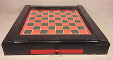 Vintage Checkerboard in Antique Wood Case in Drawer Glass Top