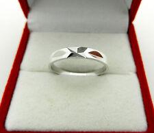 Wedding solid 14k White Gold Diamond Cut Band Ring size 6.5