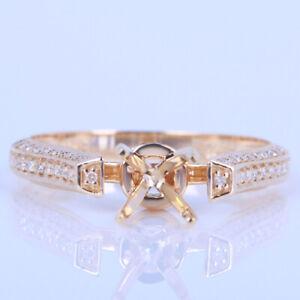 Solid 14K Yellow Gold Diamonds Semi-mount Wedding Ring Setting 6-7mm Round Cut