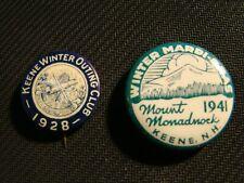 2 Keene N.H. 1928 - 41 Winter Outing Club & Mardi - Gras Pinbacks