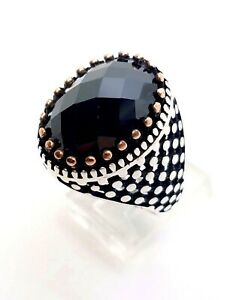 Mens 925 Sterling Silver Ring Size 11 Black Onyx