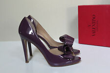 10.5 40.5 Valentino Couture Bow d'Orsay Purple Patent Leather Platform Pump Shoe