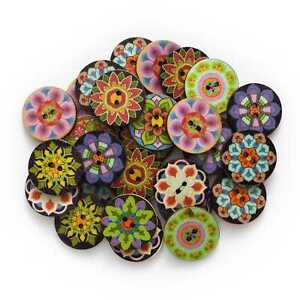 50pcs Painted Round Wood Buttons for Sewing Scrapbook Home Clothing Crafts Decor