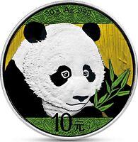 China Panda 2018 Silber 10 Yuan 30 g in Münzkapsel Silbermünze in Farbe