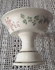 Soap Dish Pedestal Christmas Holly Porcelain Compote