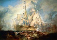 Wonderful seascape Oil painting Turner - The Battle of Trafalgar hand painted