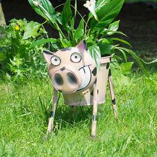 Nodding Pig Planter Metal Garden Ornament Plant Pot Decorative Sculpture Statue
