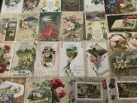 ~Lot of 25~ Pretty ~Flowers & Scenes~Antique Floral Greetings Postcards-a479