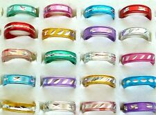 Wholesale bulk lots 100pcs Fashion Mixed Colors Aluminium Rings Jewellry Gift