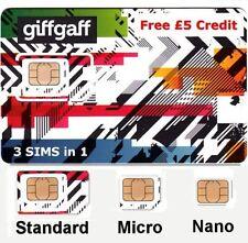 Uk payg sim giffgaff triple standard + micro + nano + free postage + £ 5 credit _.
