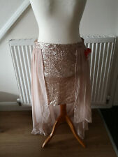 RIVER ISLAND Rose Gold Sequin Asymmetrical Hem Skirt Size UK14-16 EU42-44 BNWT